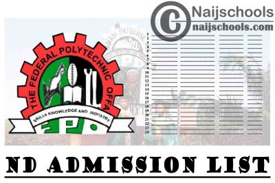 Federal Polytechnic Offa (OFFAPOLY) 1st, 2nd, 3rd & 4th Batch ND Admission List for 2020/2021 Academic Session | CHECK NOW
