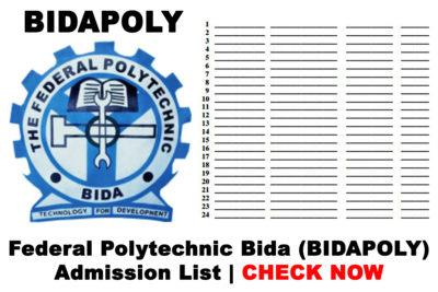 Federal Polytechnic Bida (BIDAPOLY) Admission List for 2019/2020 Academic Session