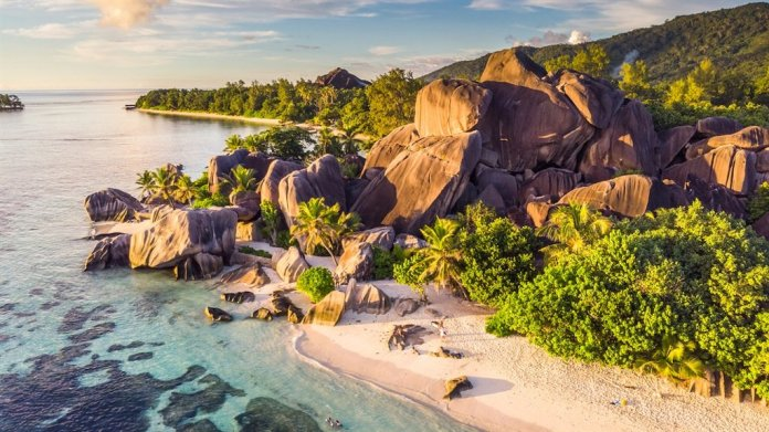 Anse Source d'Argent in the Seychelles at sunset