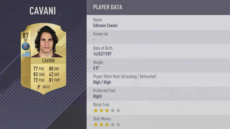 Эдинсон Кавани в FIFA 18