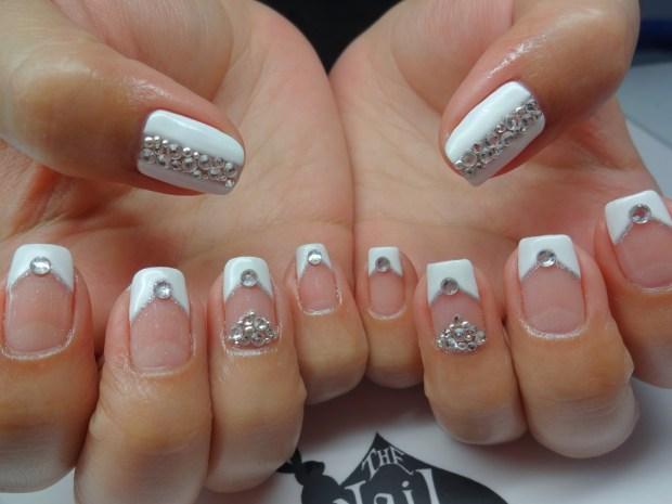 gel mani bling bridal nails