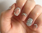 nails design rhinestones nail