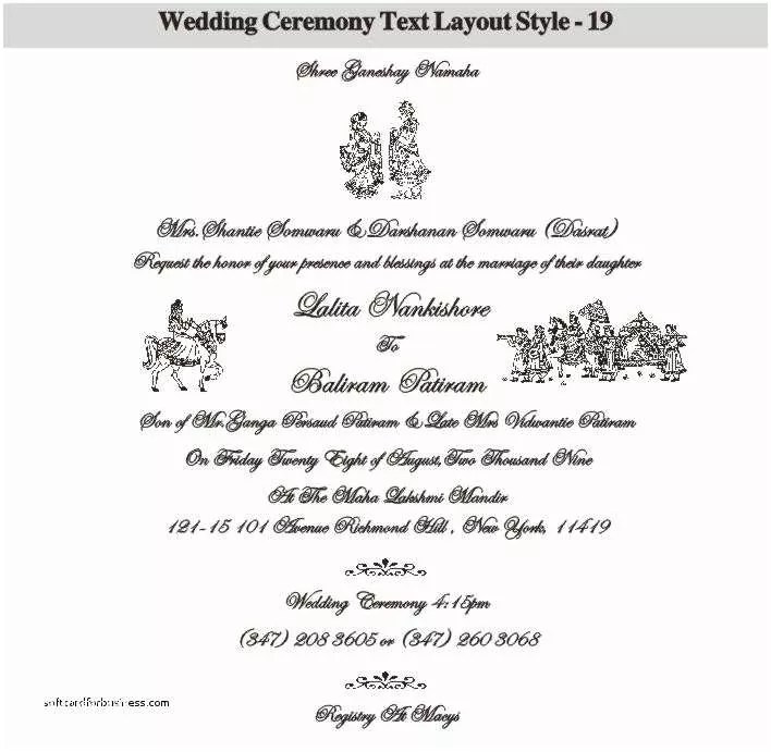 Indian Wedding Invitation Wording Elegant Hindu