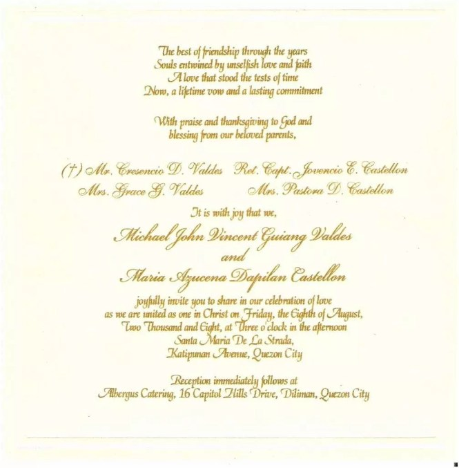 Wedding Invitations Sample Wording