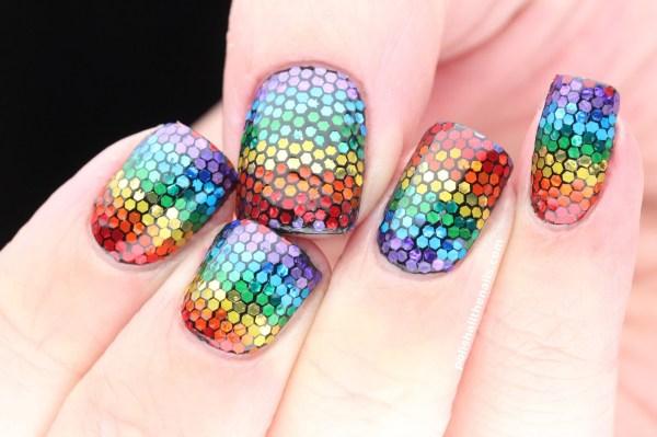 Rainbow Nails Mixing Matte And Shiny Glitter Texture Nailartus Nail Art