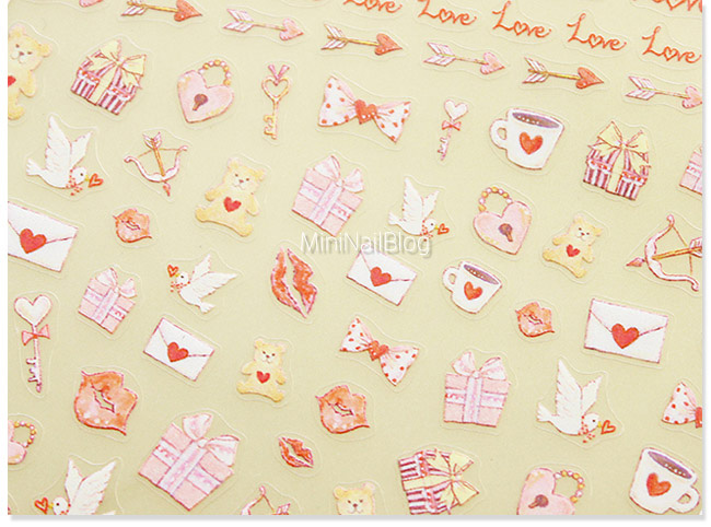 1sheet 3d Nail Art Stickers Transfers Valentines Love Hearts Bows Lace White Flower Decals For Salon