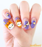 velvet halloween kitty nail art