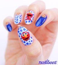 3D Cookie Monster Nail Art