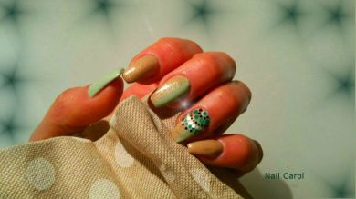 Nail art shade, verde e beige con decorazioni di puntini