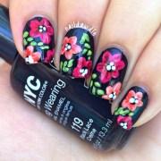 floral nails black naildawdle