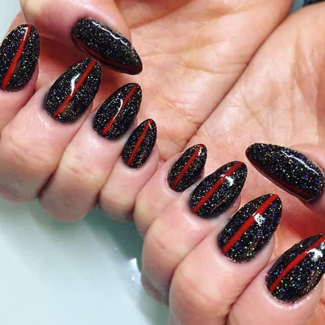 Starry Night Life Black And Red Cute Beautiful Nail Art