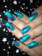 teal nail design 'll fall
