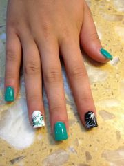 teal nail design 'll fall