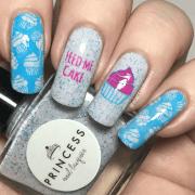 festive birthday nail design