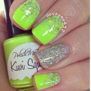 soothing lime green nail design
