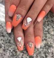 stylish peach nail design