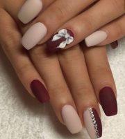 super hot maroon color nail