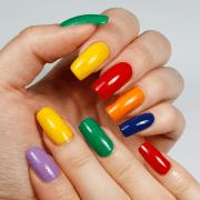 vibrant rainbow nail design