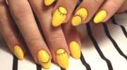 bright yellow nail design