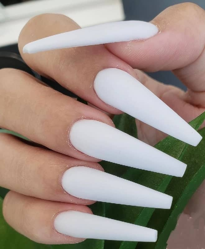 White Nails Coffin : white, nails, coffin, White, Coffin, Nails, Diamonds, Manicure, Trends
