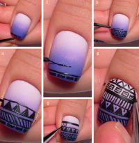 Aztec Nail Design Tutorial | Aztec Print Over Purple ...