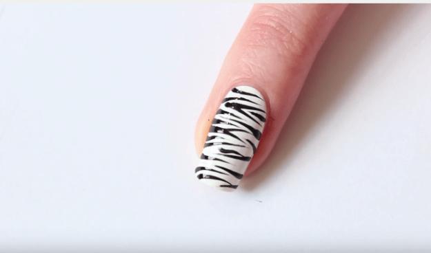 Zebra Print Nails Easy Nail Art Tutorial