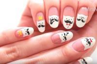 [Tutorial] Cartoon Nail Art: Mustache Cat Nail Design ...