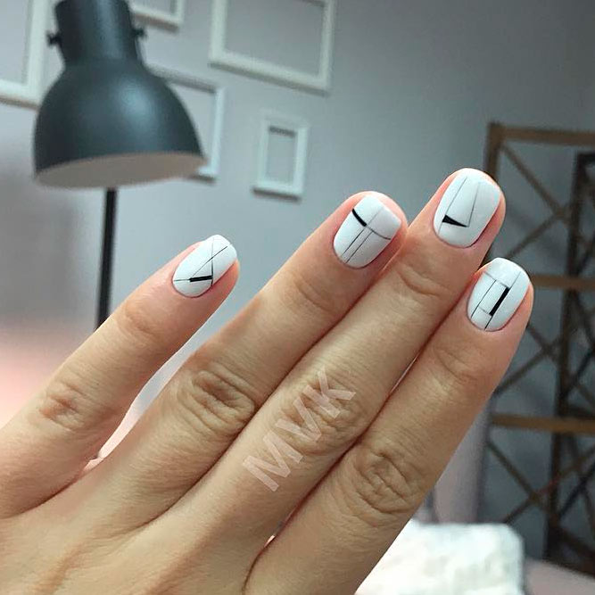 White Nails Designs With Black Accents Picture 1