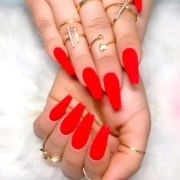 sport beautiful red acrylic nails