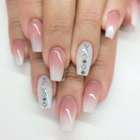 Stylish Pink And White Nails