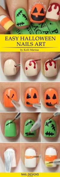 10 Easy Halloween Nails Tutorials | NailDesignsJournal.com