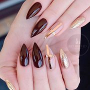 gorgeous fall color nails design