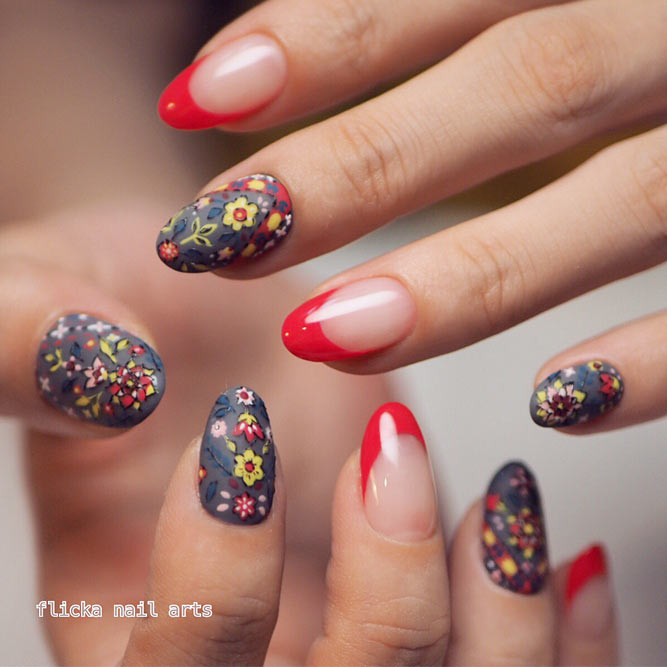 Provocative Red For Your French Tip Nails Picture 2