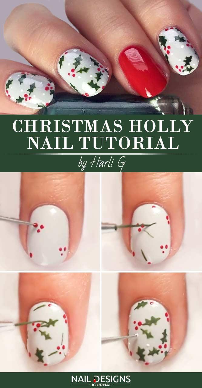 Christmas Holly Nail Tutorial