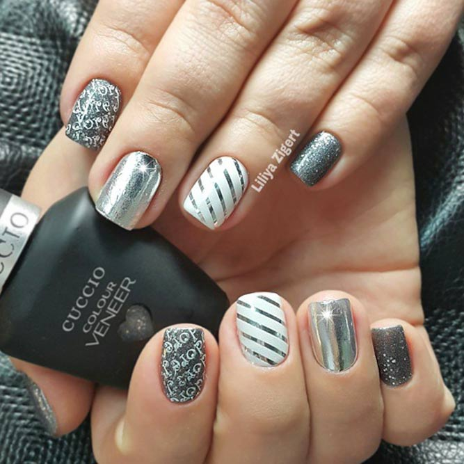 21 exciting ideas for new years nails to warm up your holiday mood cool and simple striped nail design prinsesfo Images