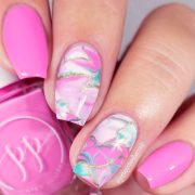 pink nails design romantic