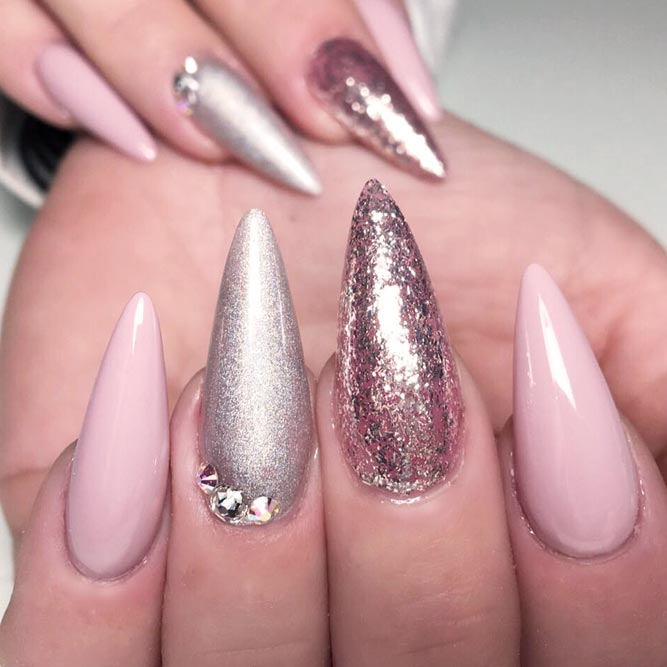 21 pink nails designs to look romantic and girly crazyforus pink nails with glitter accents picture 1 prinsesfo Choice Image