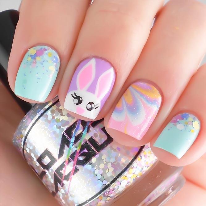 Rabbit Easter Nail Art