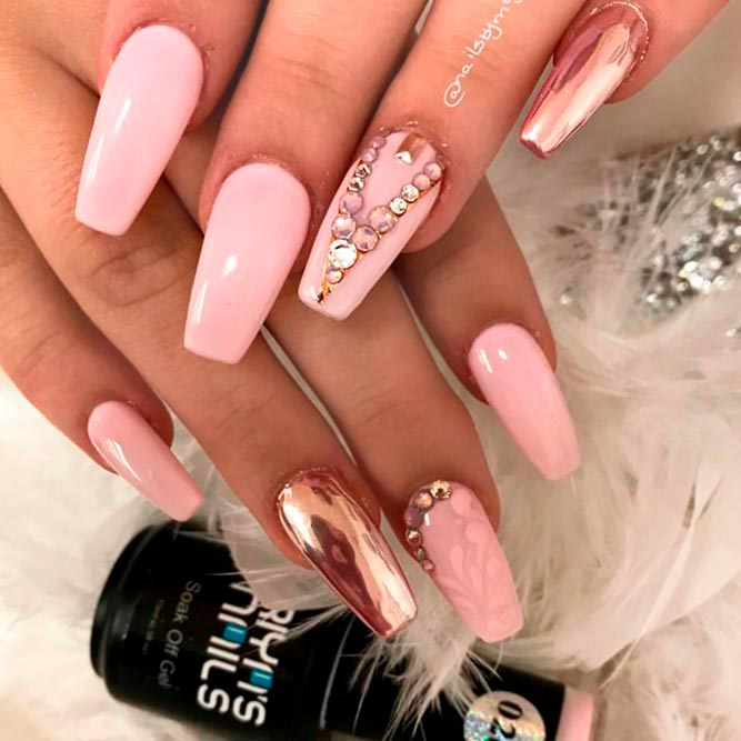 Rose Gold Nails With Rhinestones And Studs picture 1