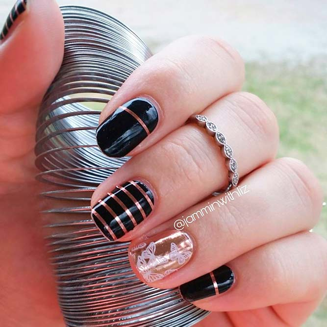 Striped Nail Designs With Rose Gold Accents picture 3