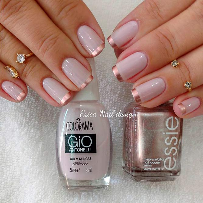 French Manicure With Rose Gold Tips | Splendid Wedding Company