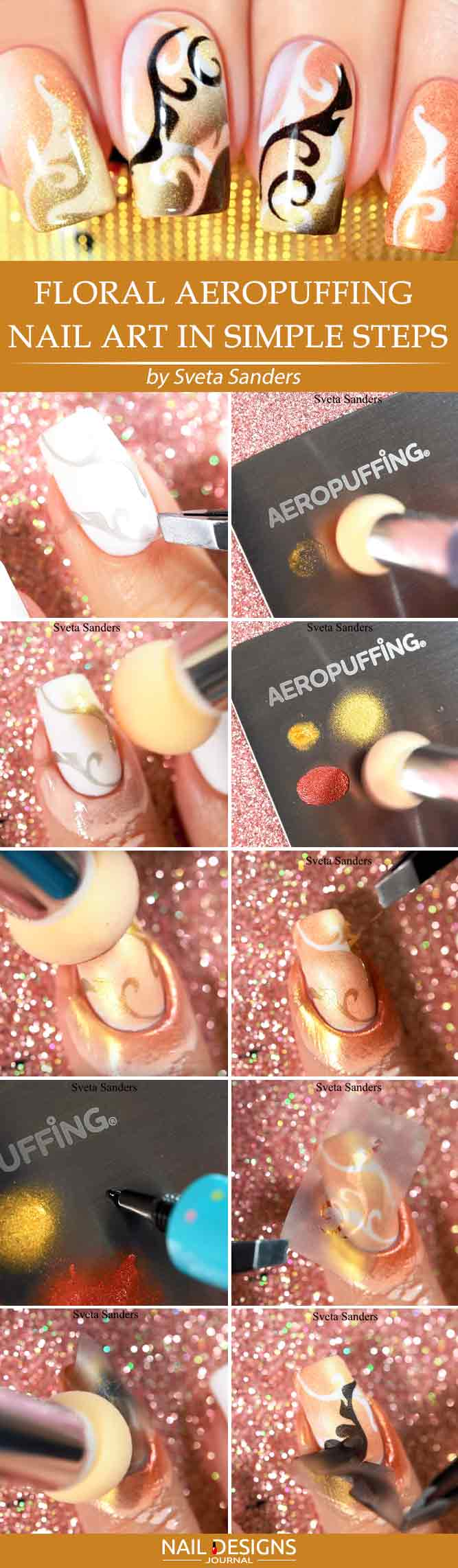 Floral Aeropuffing Nail Art In Simple Steps