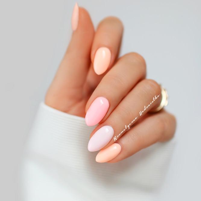 Peach Pastel Colors Nails Designs