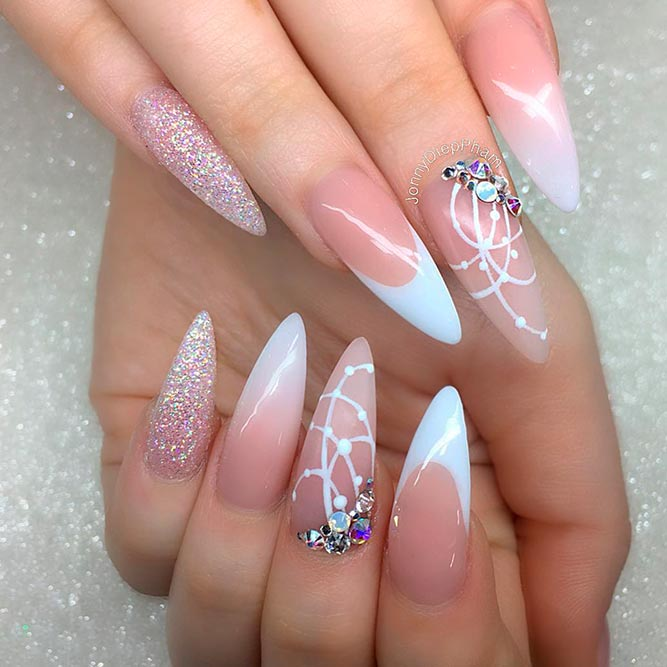 gleaming rhinestones nail perfection