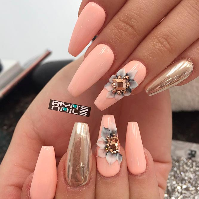 Rhinestones Nail Perfection With Floral Art