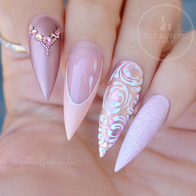 Elegant French Nail Art With Stones