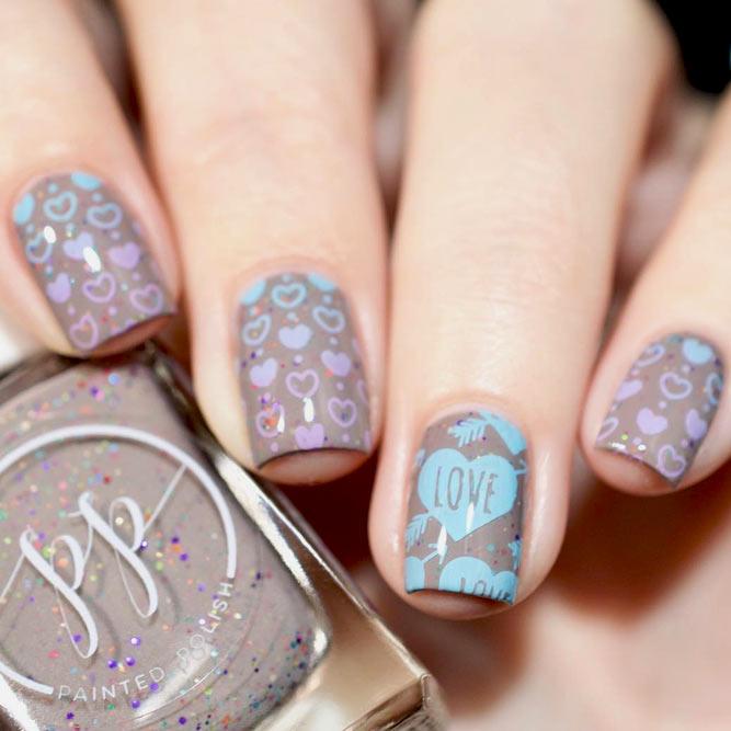 فكرة حلوة لجهودكم المقبل Taupe Mani #shortnails #heartnails #nailstamping #stamping