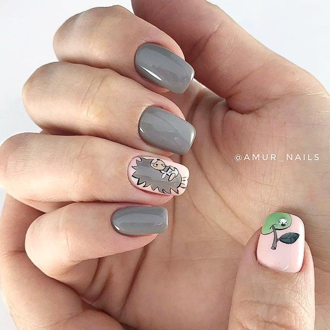 Fun Cartoon Taupe Color Nails #mediumnails #sovoval #animalnails #cartoonnails