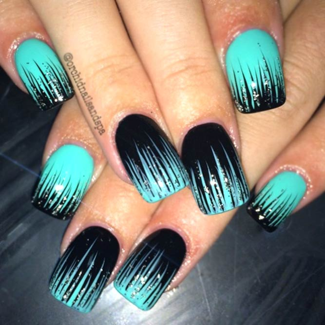 Turquoise And Black Waterfall Nails