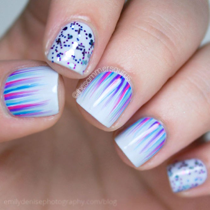 Waterfall And Glitter Accents For Blue Shade